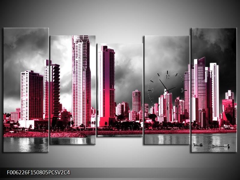 Klok schilderij Wolkenkrabber | Roze, Grijs, | 150x80cm 5Luik