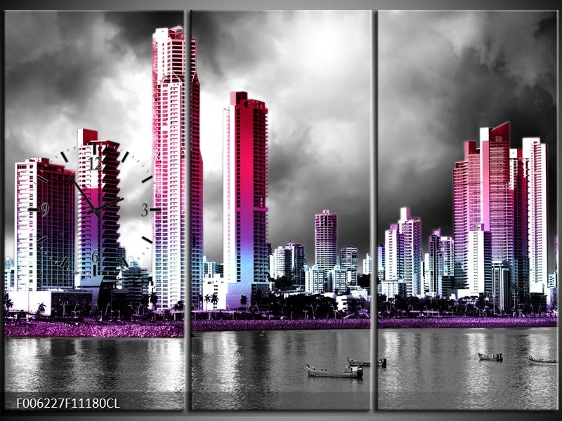 Klok schilderij Wolkenkrabber | Paars, Roze, Grijs | 111x80cm 3Luik