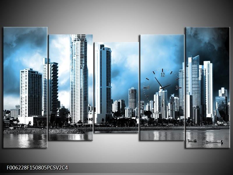 Klok schilderij Wolkenkrabber | Blauw, Grijs | 150x80cm 5Luik