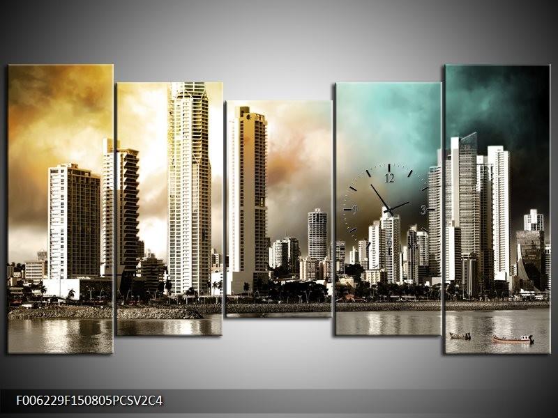 Klok schilderij Wolkenkrabber | Bruin, Sepia, Groen | 150x80cm 5Luik