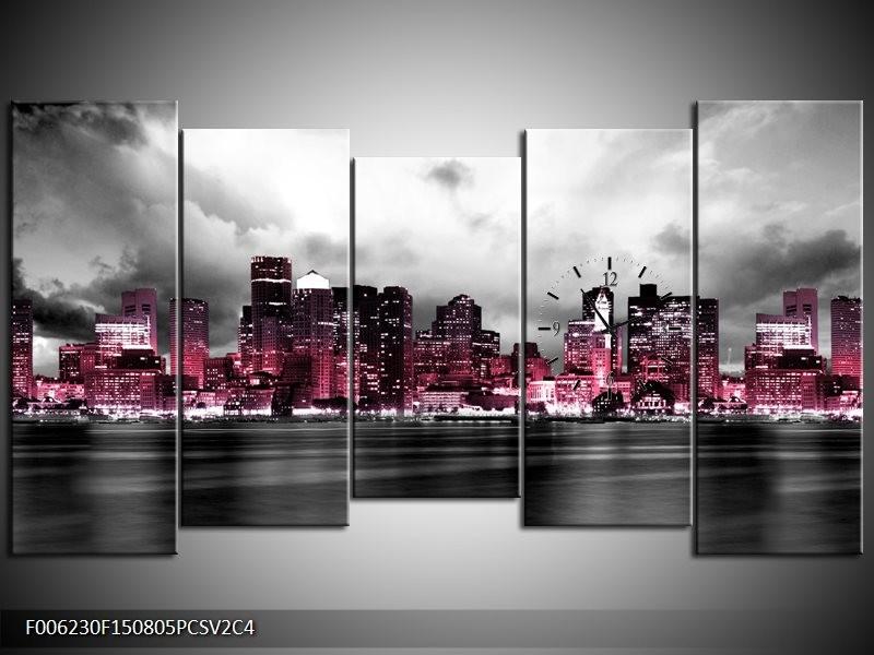 Klok schilderij Wolkenkrabber | Roze, Grijs | 150x80cm 5Luik