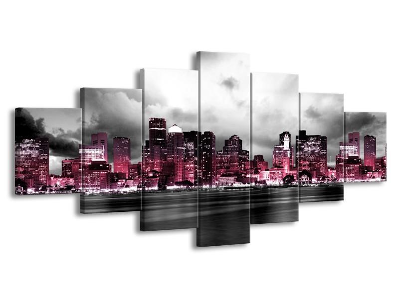 Canvas schilderij Wolkenkrabber | Roze, Grijs | 210x100cm 7Luik