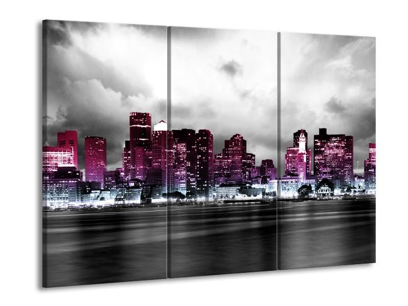 Canvas schilderij Wolkenkrabber | Paars, Roze, Grijs | 90x60cm 3Luik