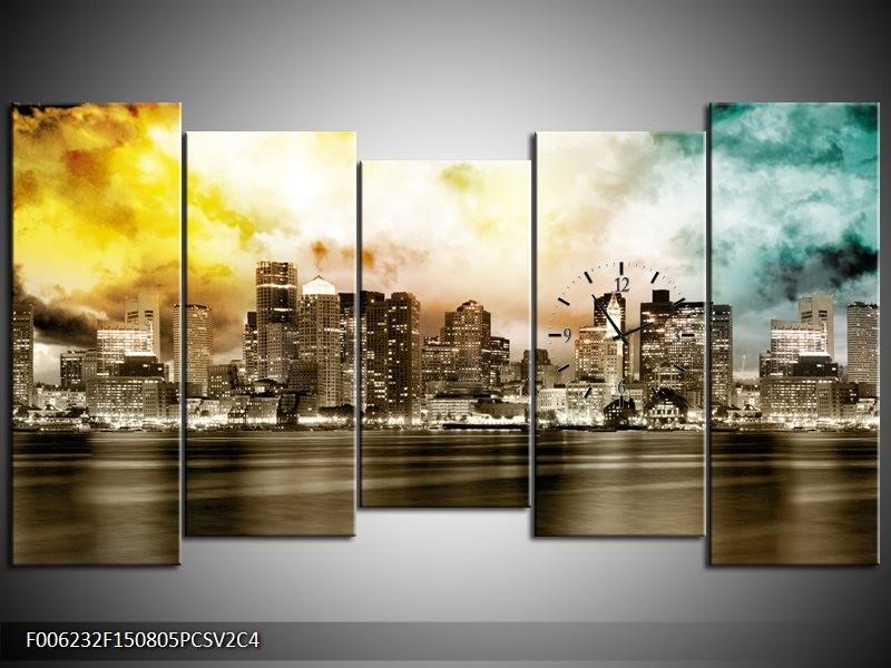 Klok schilderij Wolkenkrabber | Sepia, Bruin, Geel | 150x80cm 5Luik