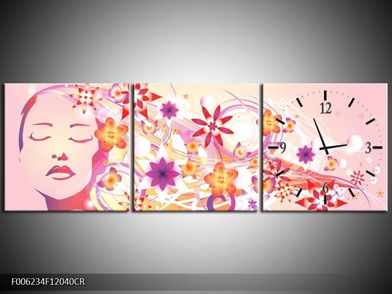 Klok schilderij Abstract | Roze, Paars, Oranje | 120x40cm 3Luik