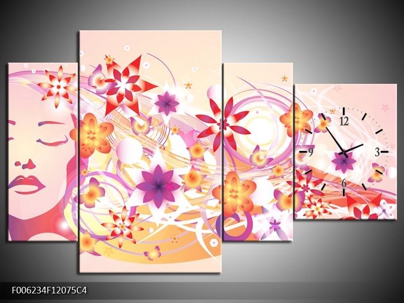 Klok schilderij Abstract | Roze, Paars, Oranje | 120x75cm 4Luik