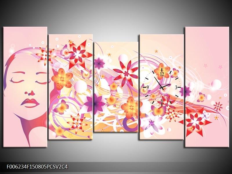 Klok schilderij Abstract | Roze, Paars, Oranje | 150x80cm 5Luik