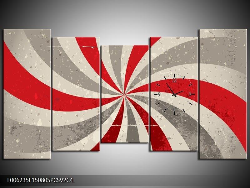 Klok schilderij Abstract | Grijs, Rood | 150x80cm 5Luik