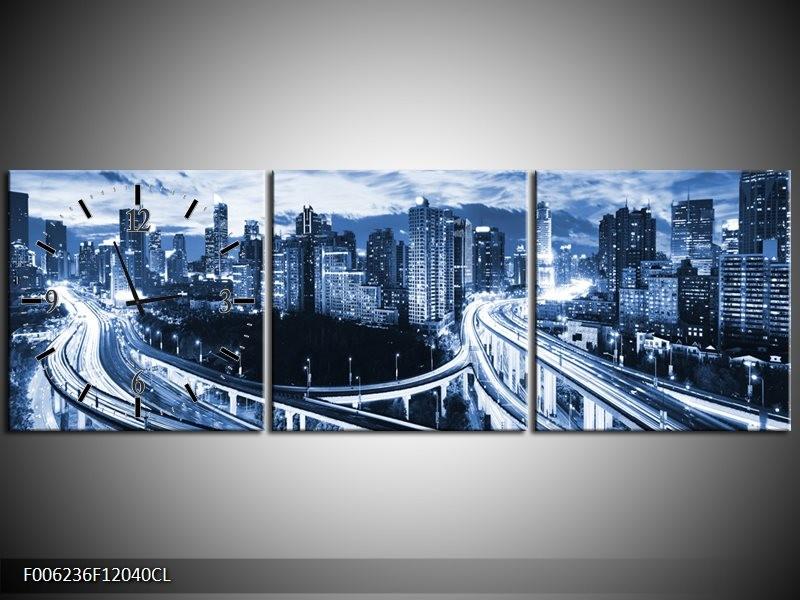 Klok schilderij Brug | Blauw, Grijs | 120x40cm 3Luik