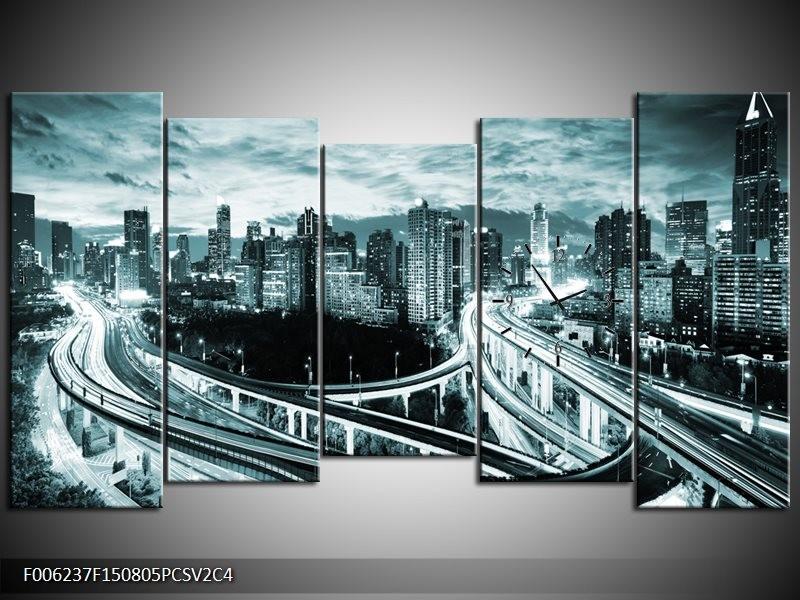 Klok schilderij Brug | Groen, Grijs | 150x80cm 5Luik