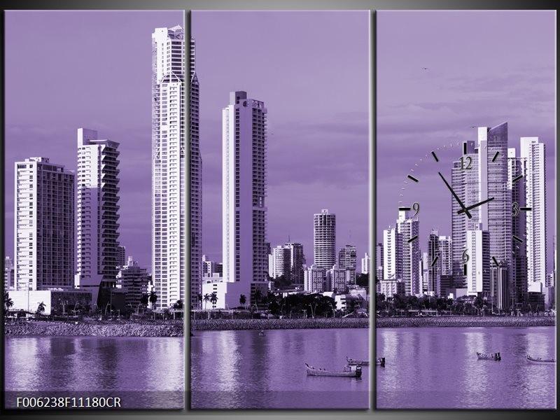 Klok schilderij Wolkenkrabber | Paars | 111x80cm 3Luik