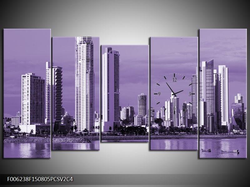 Klok schilderij Wolkenkrabber | Paars | 150x80cm 5Luik