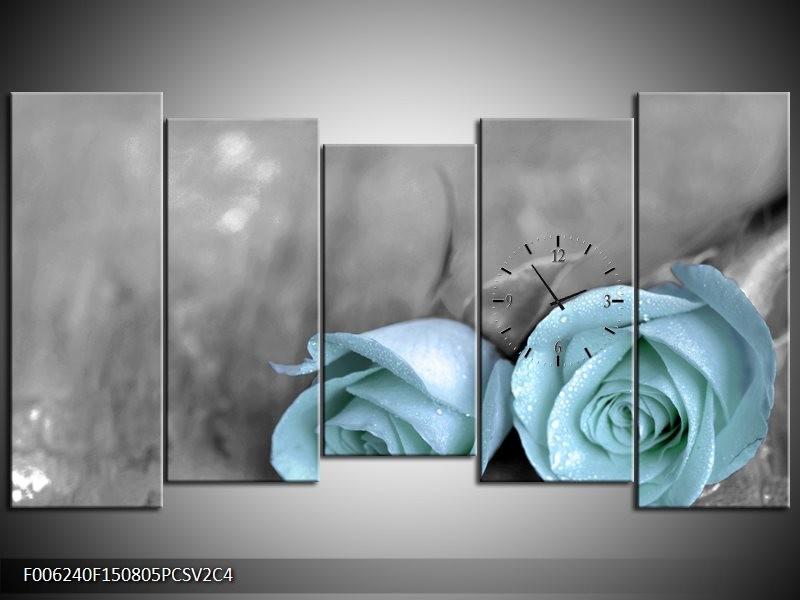 Klok schilderij Roos   Blauw, Grijs   150x80cm 5Luik