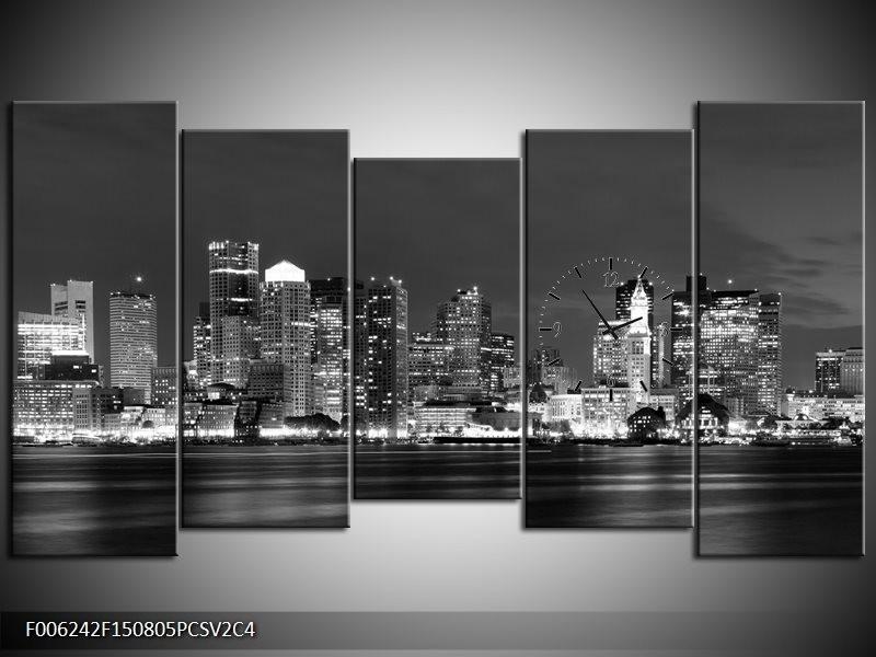 Klok schilderij Wolkenkrabber | Zwart, Grijs | 150x80cm 5Luik