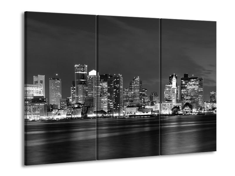 Canvas schilderij Wolkenkrabber | Zwart, Grijs | 90x60cm 3Luik