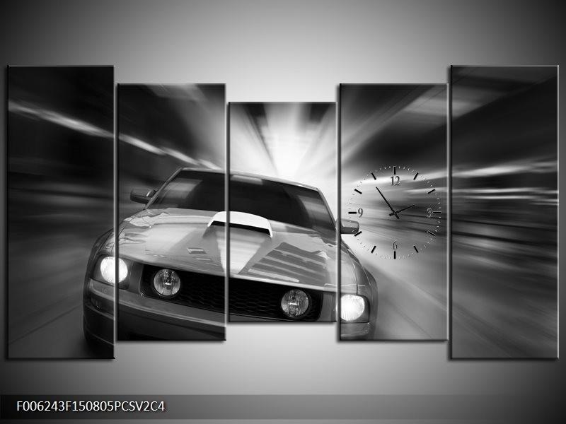 Klok schilderij Mustang | Zwart, Grijs | 150x80cm 5Luik