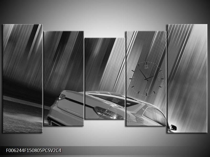 Klok schilderij Auto | Zwart, Grijs | 150x80cm 5Luik
