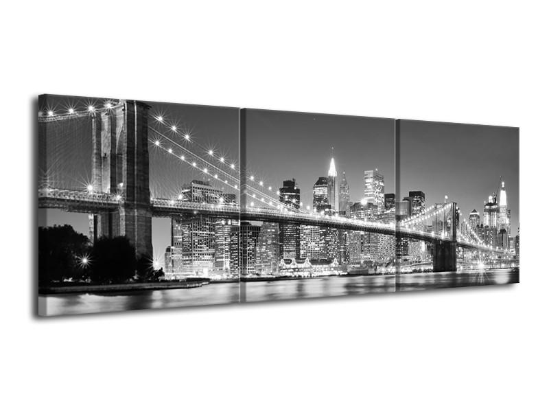 Glas schilderij Brug | Grijs, Zwart | 120x40cm 3Luik