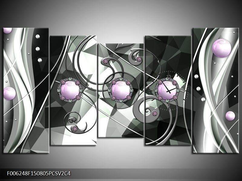 Klok schilderij Modern | Paars, Grijs, Wit | 150x80cm 5Luik
