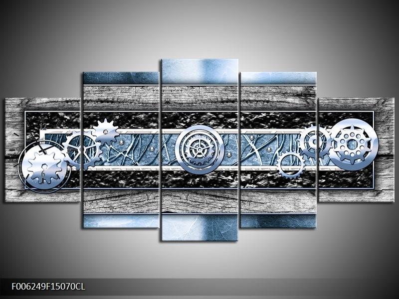 Klok schilderij Modern | Blauw, Grijs | 150x70cm 5Luik