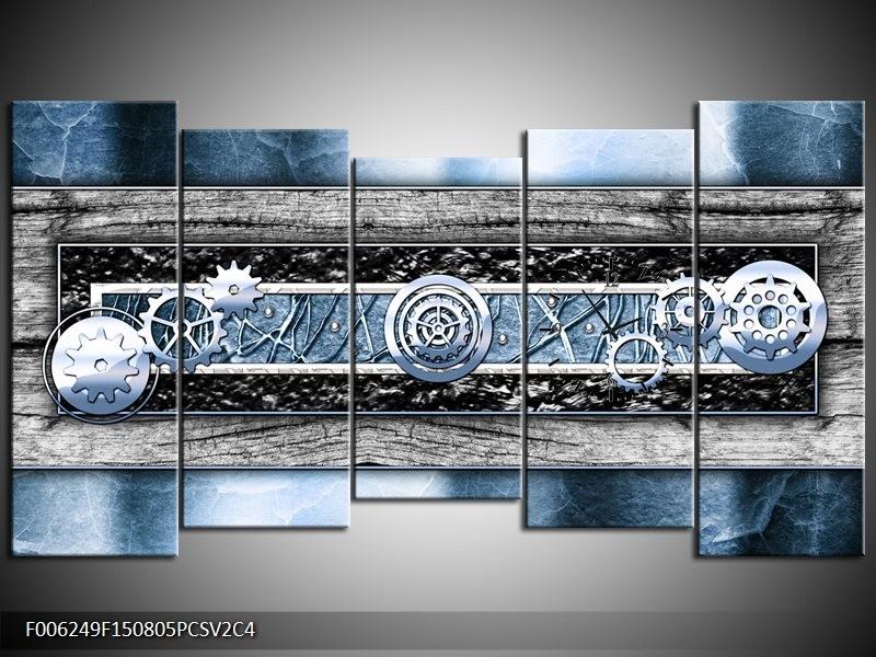 Klok schilderij Modern | Blauw, Grijs | 150x80cm 5Luik