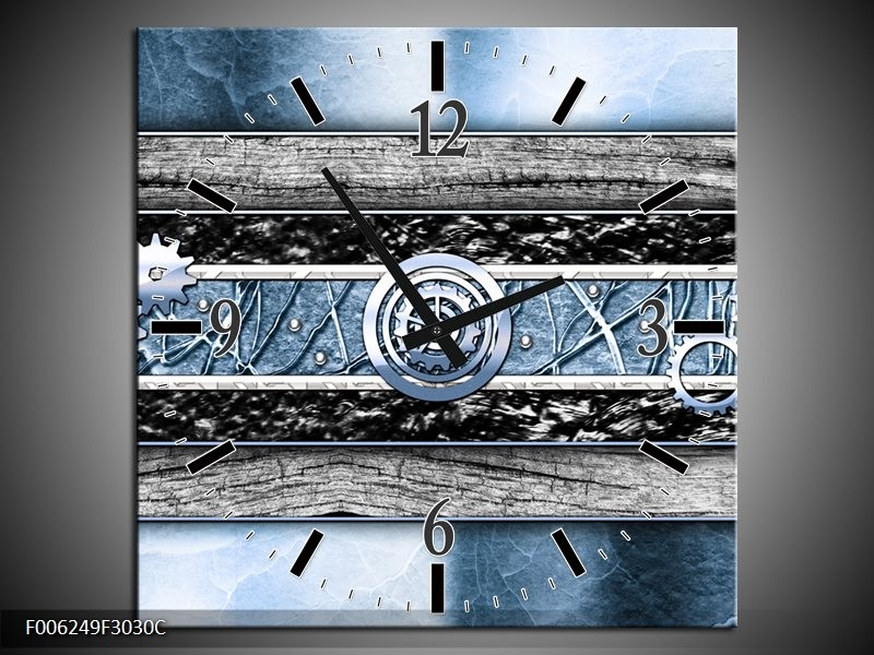 Klok schilderij Modern | Blauw, Grijs | 30x30cm 1Luik