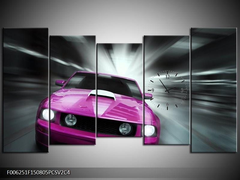 Klok schilderij Mustang | Paars, Roze, Grijs | 150x80cm 5Luik
