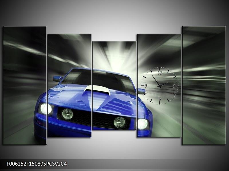 Klok schilderij Mustang | Blauw, Grijs | 150x80cm 5Luik