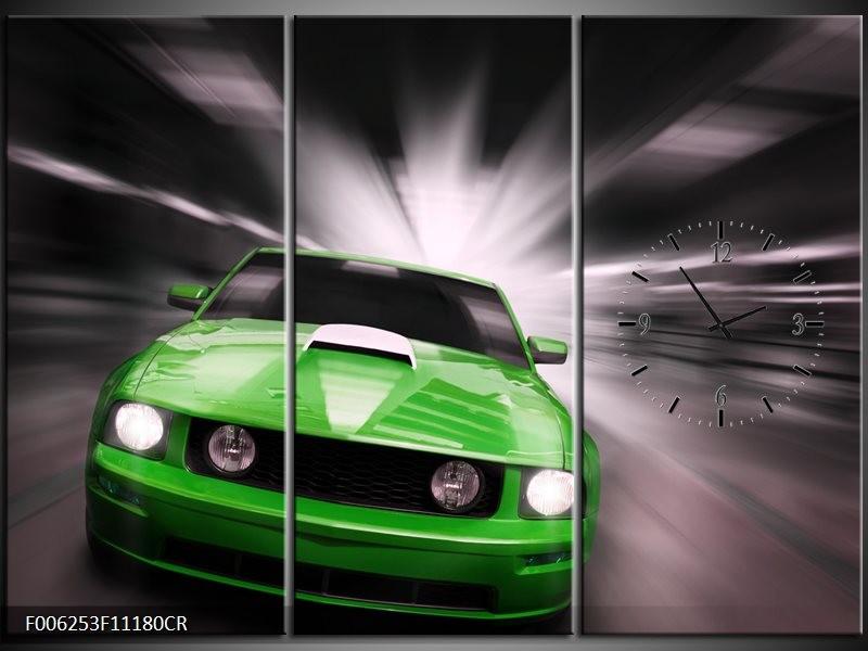Klok schilderij Mustang | Groen, Grijs | 111x80cm 3Luik