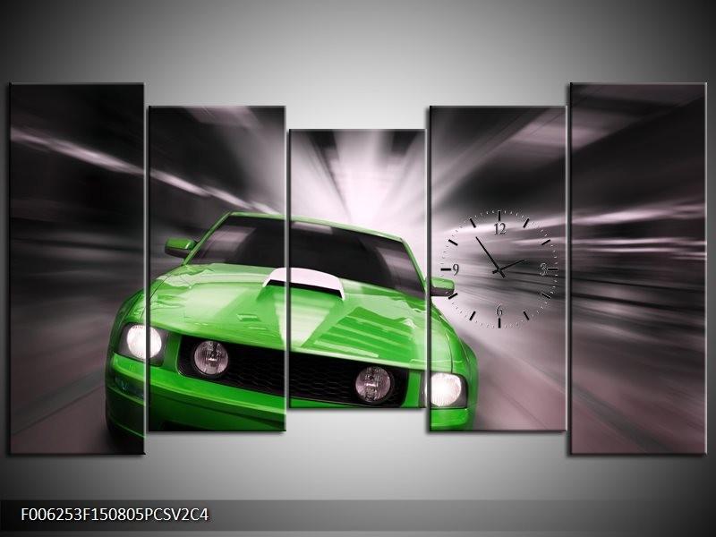 Klok schilderij Mustang | Groen, Grijs | 150x80cm 5Luik