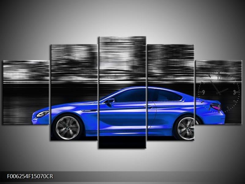 Klok schilderij Auto   Blauw, Grijs   150x70cm 5Luik