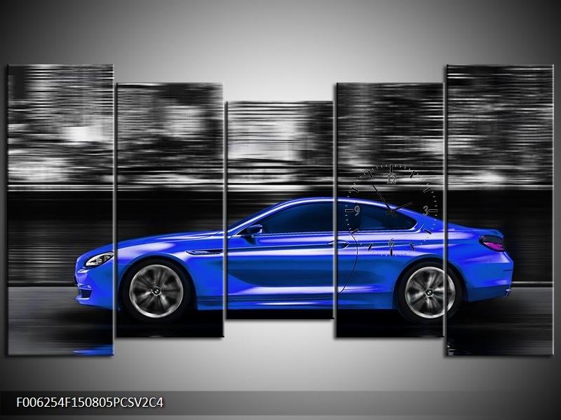 Klok schilderij Auto | Blauw, Grijs | 150x80cm 5Luik