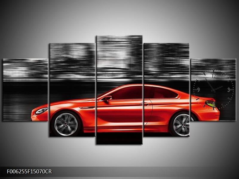 Klok schilderij Auto   Rood, Grijs   150x70cm 5Luik