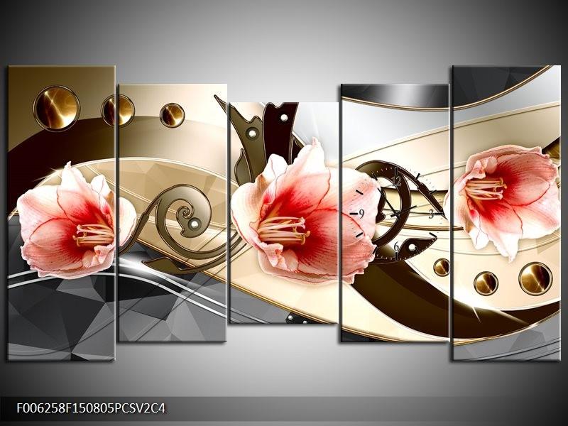 Klok schilderij Bloem | Roze, Crème, Grijs | 150x80cm 5Luik