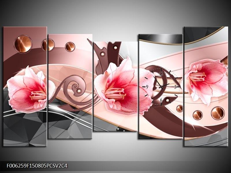 Klok schilderij Bloem | Roze, Grijs | 150x80cm 5Luik