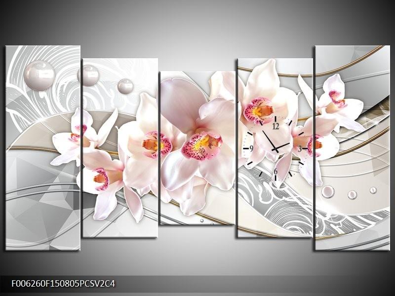Klok schilderij Orchidee | Grijs, Roze | 150x80cm 5Luik