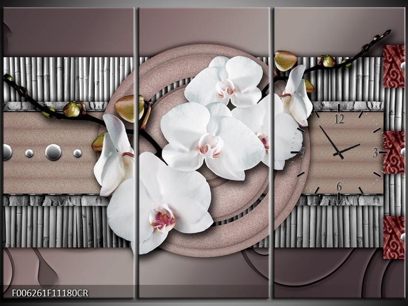 Klok schilderij Orchidee | Bruin, Wit, Grijs | 111x80cm 3Luik