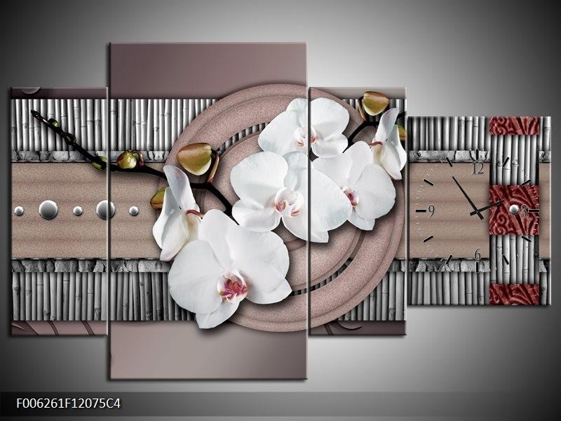 Klok schilderij Orchidee | Bruin, Wit, Grijs | 120x75cm 4Luik