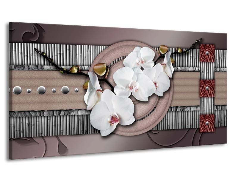 Canvas schilderij Orchidee   Bruin, Wit, Grijs   170x90cm 1Luik