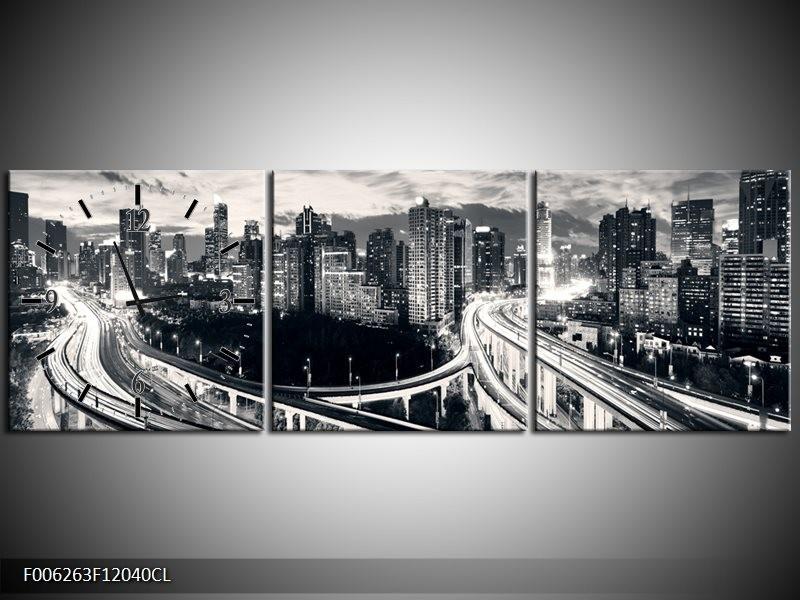 Klok schilderij Wolkenkrabber | Grijs, | 120x40cm 3Luik