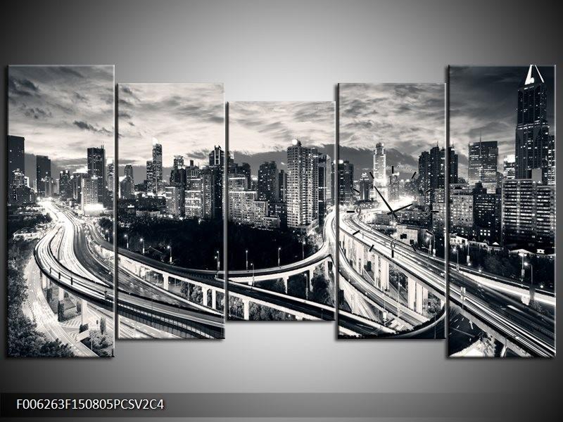 Klok schilderij Wolkenkrabber | Grijs, | 150x80cm 5Luik