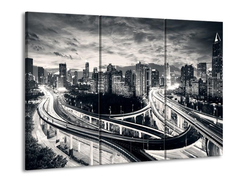 Canvas schilderij Wolkenkrabber | Grijs, | 90x60cm 3Luik