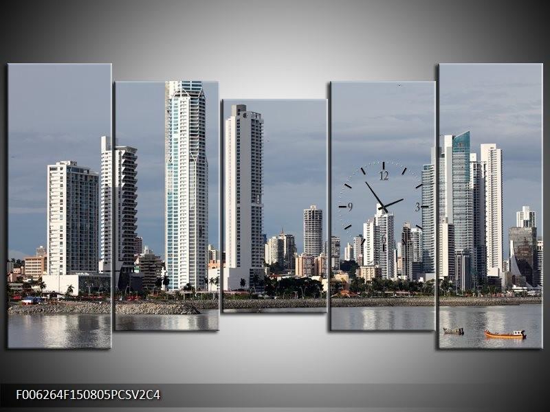 Klok schilderij Wolkenkrabber | Grijs, Blauw | 150x80cm 5Luik