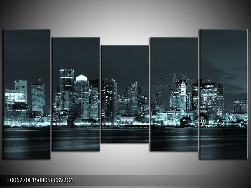 Klok schilderij Wolkenkrabber | Groen, Grijs | 150x80cm 5Luik