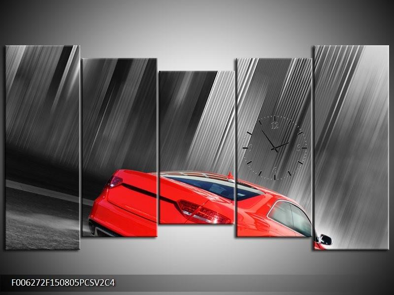 Klok schilderij Auto | Rood, Grijs | 150x80cm 5Luik