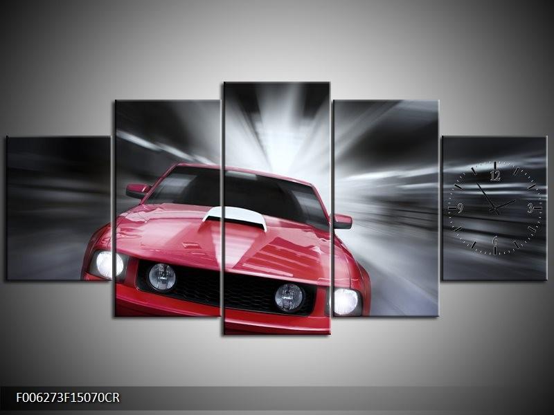 Klok schilderij Mustang   Rood, Grijs   150x70cm 5Luik