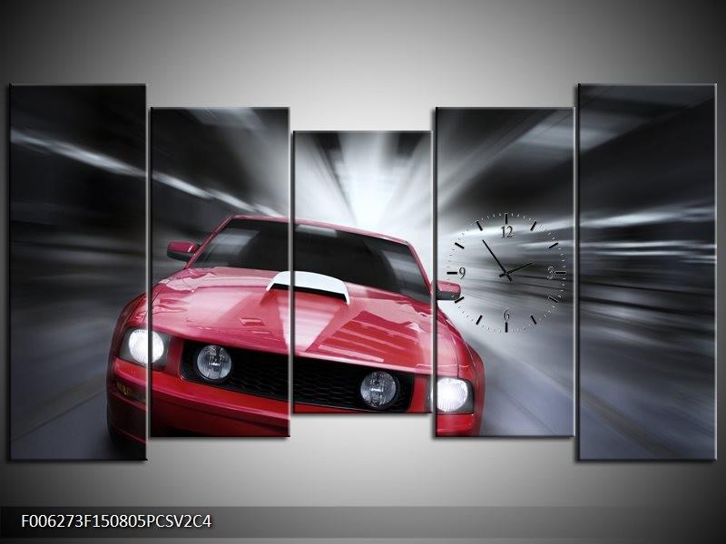 Klok schilderij Mustang | Rood, Grijs | 150x80cm 5Luik