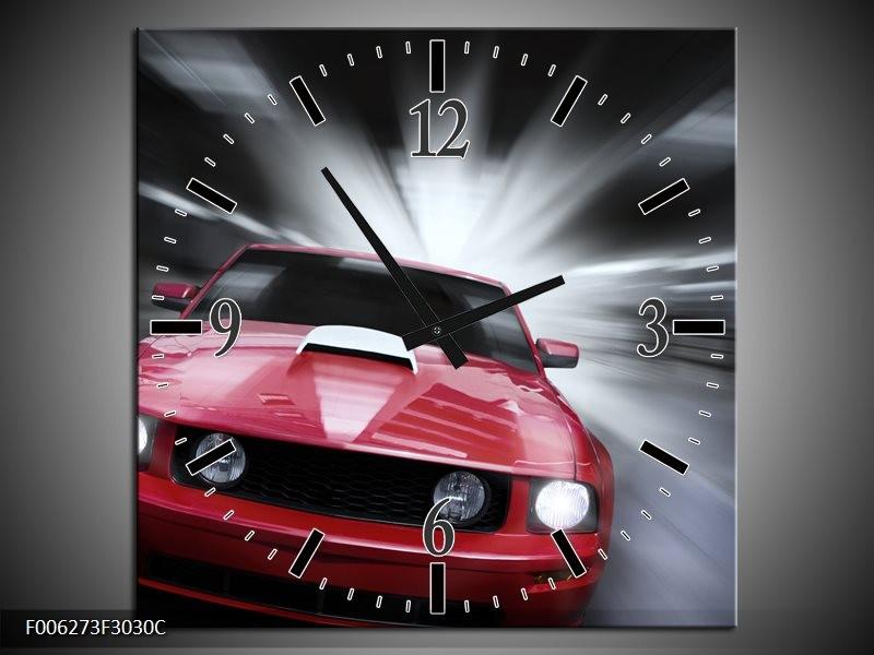 Klok schilderij Mustang   Rood, Grijs   30x30cm 1Luik