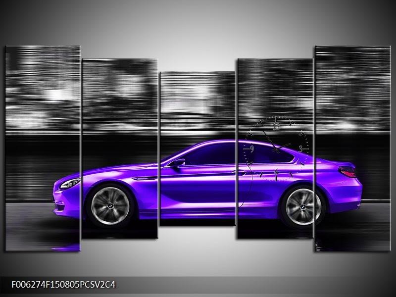 Klok schilderij Auto | Paars, Grijs, Zwart | 150x80cm 5Luik
