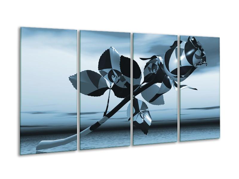 Canvas Schilderij Bloem, Roos   Blauw, Zilver   160x80cm 4Luik